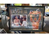 AJ Anthony Joshua hand signed A1 framed photo display with Coa