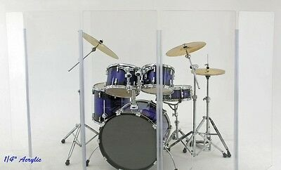 Acrylic Drum Shield Drum Screen DS1 L Four Panels 2' x 4' with Living Hinges