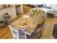 Reclaimed Scaffold table, with stylishly finished hairpin legs .