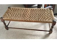 VINTAGE WOODEN WHICKER FOOTSTOOL, FOOTREST, COFFEE TABLE, IDEAL UPCYCLE PROJECT, SHABBY CHIC