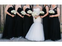 Bridesmaid Black Dress One Shoulder Tulle Veromia VRB71561 - 5 dresses available