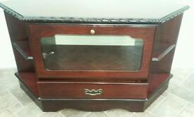 Living room furniture set dark wood Tv cabinet nest of tables