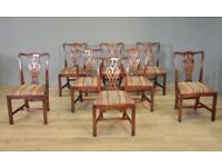 Good Set Of Eight 8 Vintage Chippendale Style Mahogany Dining Kitchen Chairs