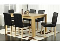 CORBY DINING SET WITH 4 OR 6 CHAIRS, SOLID WOOD, FAUX-LEATHER CHAIRS! CHEAP! DELIVERY AVAILABLE!