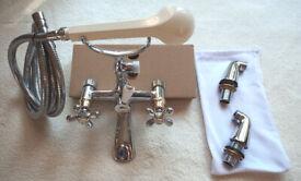 "Quality ""Nostalgic"" Victorian Vintage Style Bath Shower Mixer Tap Gold/Chrome"