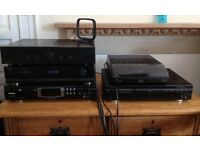 Hifi Stereo System: Amplifer, Tuner, 2xCD Players, Mini Turntable, Large 150w Speakers + Accessories