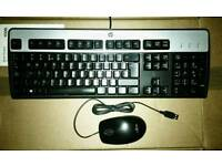 brand new in packaging HP usb keyboard and a fujitsu optical usb mouse