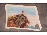 Handmade Needlepoint Gobelin (Tapestry) 'Shepherdess' by Filippo Palizzi