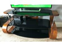 Jual curved wood tv stand