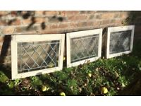 3 VINTAGE ANTIQUE 1930S WINDOW PANES, LEAD LINED, ART DECO IN STYLE, RECLAMATION SALVAGE