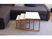 Set of 3 design white and oak coffee tables by Habitat