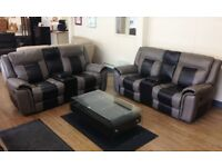 ScS BAXTER - Two Tone , MANUAL RECLINING Sofa Suite with Consoles