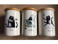 Cat-themed tea, coffee & sugar containers