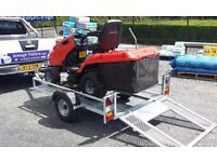 SMALL TRANSPORTER GALVANISED TRAILER FOR MOVING QUADS & LAWNMOWERS LED LIGHTS RAMP SUIT GOLF BUGGY