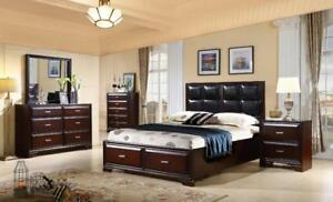 KING SIZE BED WITH STORAGE | ALSO AVAILABLE - LOW PLATFORM BED WITH LIGHTS, MODERN COOL LOOKING LEATHER BED (GL61)