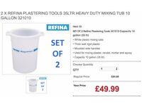 2 X REFINA PLASTERING TOOLS 35LTR HEAVY DUTY MIXING TUB 10 GALLON 321010