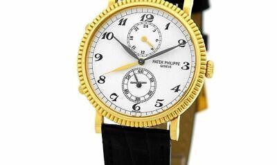 PATEK PHILIPPE 18K Yellow Gold Calatrava Dual Time Watch 5034J Box & Documents
