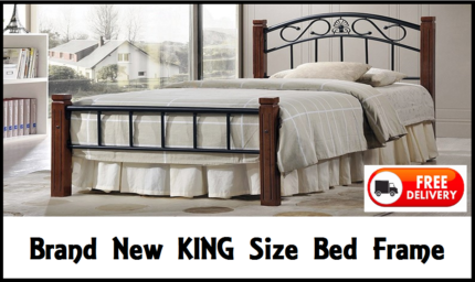 KING Size Timber + Iron Bed Frame - BRAND NEW DELIVERED FREE