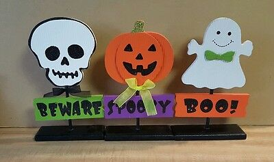 Lot Of 3 Wooden Halloween Decorations ~ Skull, Pumpkin, and Ghost ~ New