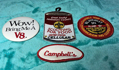 CAMPBELL'S ~ BOY GIRL SCOUTS ~ LOT OF PATCHES BUTTON ~ V8 ~ PLANT 97 ~ CELLULAR