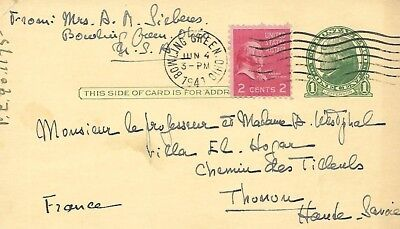- USA 1941 POST CARD FROM BOLINGREEN OHIO TO FRANCE #1