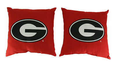 Scratch & Dent Pair of 15 Inch Square Georgia Bulldogs Accent Pillows Northwest Georgia Bulldogs Pillow