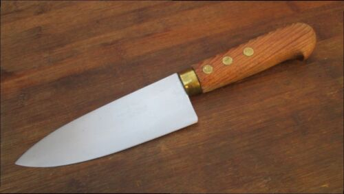Smaller, Wide Vintage PINO Italy Bolstered Carbon Steel Chef Knife - RAZOR SHARP