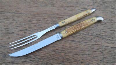 PRISTINE Vintage QUEEN Bone-handle Steak Knife/Fork Tableware Set - made in USA