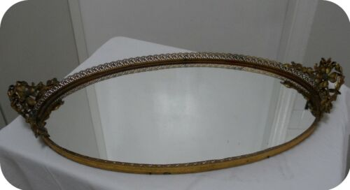 "Vtg Ornate Flowers Gold Ormolu Oval Mirror Dresser Vanity Tray 20.5"" x 11"""