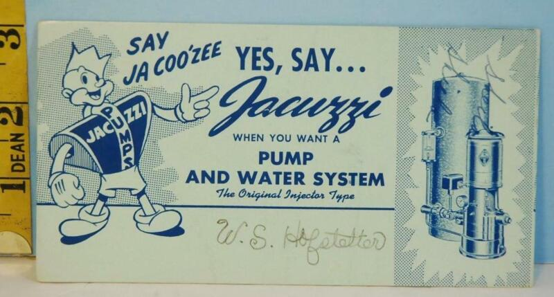 Vintage Jacuzzi Pump & Water Systems Injector Type Blotter Card RARE!!