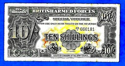 England M21a 10 Shillings ARMED FORCES 2nd Series W/Strip Prefix BB/3 1948 RARE