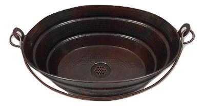 "16"" x 12"" Oval  Vintage Copper Vessel BUCKET Bath Sink with"