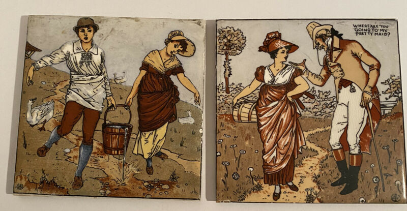 Wheeling Tiles Lot Of Two Jack And Jill/ Scene Of Man And Woman