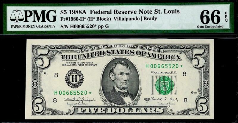 1988a* $5 St. Louis Federal Reserve STAR FRN • PMG 66 EPQ 1980-H* KEY • TOP POP