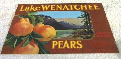 Rare Old Vintage Original Lake Wenatchee Pear Crate Label Cashmere Wash. 1940's