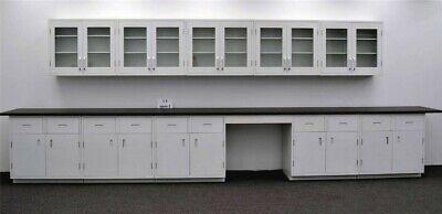 17 Base 15 Wall Cabinets Laboratory Furniture W Desk Area E1-026