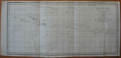 1774 - COOK -  Map  SOCIETY Is. TAHITI Routes COOK WALLIS CARTERET BYRON