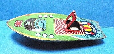 - Vintage Small Tin Toy Speedboat  Free Shipping