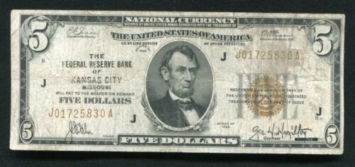 FR. 1850-A 1929 $5 FRBN FEDERAL RESERVE BANK NOTE KANSAS CITY, MO (G)
