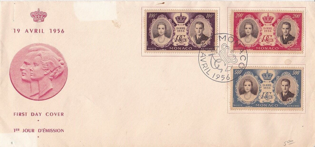 Monaco 1956 Royal Wedding Set of 2 FDC Unadressed VGC