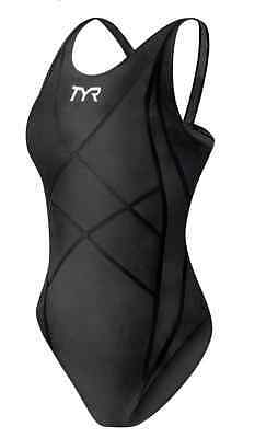 New Women's TYR Black Tracer Light Aeroback 1 Piece FINA Tri Swimsuit - Size 32