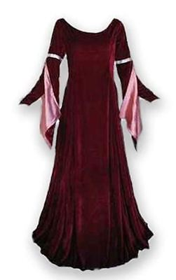 Plus Size Medieval Gown Renaissance Dress Ren Faire Long Sleeve Formal LARP SCA  (Renaissance Gowns Plus Size)