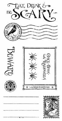 Graphic 45 Eerie Tale Rubber Cling Stamp Halloween Grimm Fairytale Eat Scary #3 - Graphic 45 Halloween Stamps