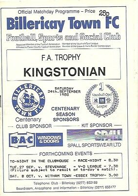 *BILLERICAY TOWN v KINGSTONIAN  24th SEPT' 1988 FA TROPHY 1st QUAL' RD