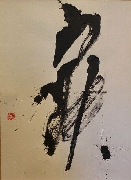 JAPANESE PAINTING HANGING SCROLL OLD FROM JAPAN Chinese character 843m
