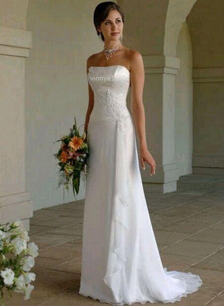 Wedding Dress White Ivory Chifffon A-line Strapless Size 10 12 14 16 UK Seller