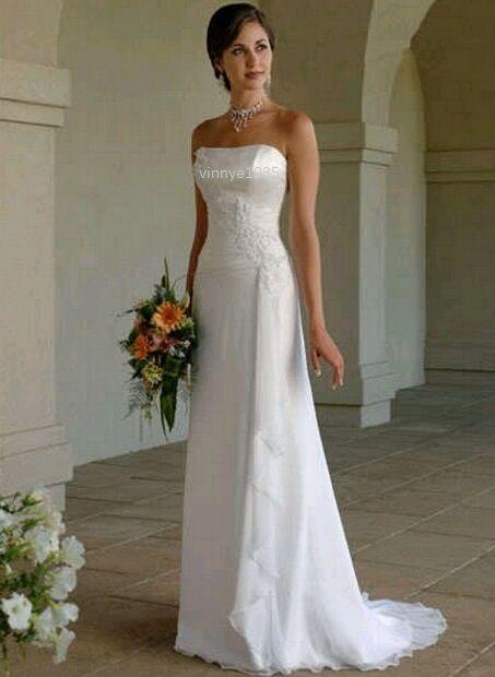 Wedding Dress White Ivory Chifffon A-line Strapless Size 10 12 14 16 UK Seller