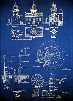 Vintage Lighthouse Prints Point Loma San Diego 1855 Blueprints 18x24 pair (260)
