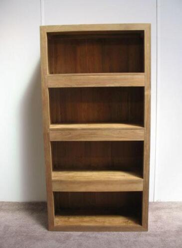 boekenkast teakhout 1 meter 3 blinde laden indoteak