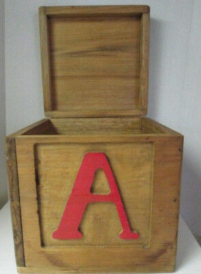 Vintage Handmade Carved ABC Solid Wood Storage Trunk Toy Box